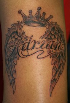 Image detail for -Crown, Wings & Lettering tattoo