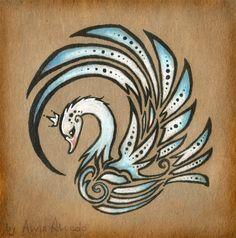Royal swan - tattoo design by AlviaAlcedo on @DeviantArt