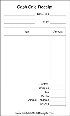 A basic, airy cash receipt with plenty of room to write in details of the purchase. It is ideal for retail stores and includes spaces to note tax and shipping. Free to download and print