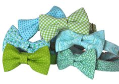 Bow Tie Dog Collars, Mint and Aqua, Gingham Dog Collar, Paisley Bow Tie, Green and Aqua Bowtie Dog Collar, Pet Products,