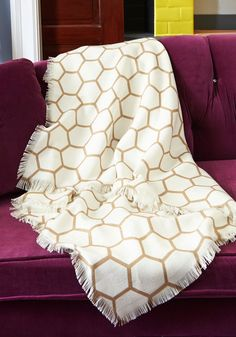 Sweet Night In Throw Blanket - Multi, Dorm Decor, Best, White, Gold, Print, Fringed, Gals. modcloth.com