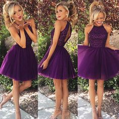 short Homecoming Dresses, purple Homecoming Dress, cheap homecoming dress…