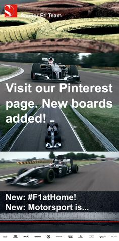 "We highly recommend to all our followers to visit our Pinterest page at wwww.pinterest.com/sauberf1pins and to check out our NEW BOARDS. In particular our #F1atHome board: Stunning views and unique perspectives of our #F1 facilities in Hinwil, Switzerland. And our ""Motorsport is"" board with our very own #motorsport #quotes"