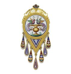 Gold micromosaic brooch, circa 1880. The circular micromosaic depicting a pair of peacocks within bead and rope work surround suspending a series of drops with decorative motifs including fleur-de-lys, glazed compartment to reverse.