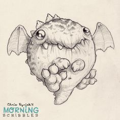 Dragon by Chris Ryniak. Cute monster drawings.