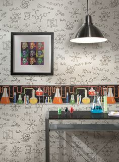 Encourage the mad scientist in your family with chemistry wallpaper from http://lelandswallpaper.com. $30.99