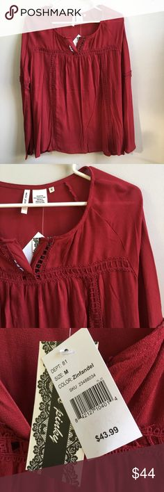 BRAND NEW Burgundy Peasant Top Brand new with attached tags. 📦Bundle and save💰5%! ❌Price is firm unless bundled❌ Tops