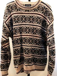 2fb0eb6cd4 Vintage Fair Isle Nordic Wool Sweater Men s L Classic Snowflake Jantzen  Warm  Jantzen  Crewneck