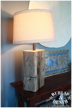 DIY Salvaged Wood Block Lamp...use an old fence post or beam from a barn
