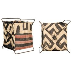 Raffia Folding Basket $30 - Large by Connected Fair Trade. Kenyan artisans apply Congo raffia, a ceremonial textile of the Kuba people of the Democratic Republic of Congo