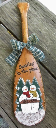 """Handpainted Vintage Small 23"""" Boat Paddle Snowman """"snowing in the pines"""""""