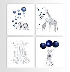 Baby Boy Gift, Navy Blue Nursery, Elephant Decor, Giraffe, Zebra, Animal Nursery Art - Set of Four Art Prints