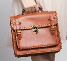 Cognac Satchel - love the clasp