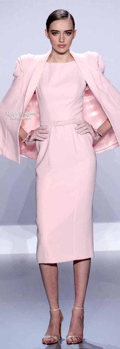 Ralph & Russo Spring 2014 HC | Pale pink silk wool pencil dress and cape with rosette shoulders
