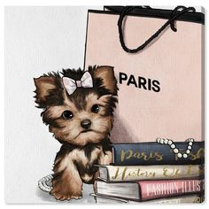 fashion art Oliver Gal Fashion Book Yorkie Glam Custom Graphic Art Print Format: Wrapped Canvas, Size: H x W x D Oliver Gal, Canvas Wall Art, Wall Art Prints, Fine Art Prints, Canvas Prints, Canvas Frame, Chanel Wallpapers, Cute Wallpapers, Fashion Wallpaper