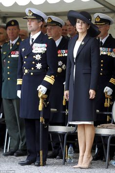 The 45-year-old and her husband arrived at the Copenhagen Citadel on Tuesday where they participated in the traditional wreath-laying ceremony for Danish soldiers abroad