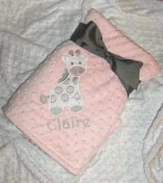 Personalize Custom Minky Baby Blanket  Giraffe by LullabyGardens, $50.00