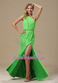 One Shoulder High Slit Ruched Spring Green Chiffon Pageant Dress