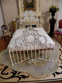 Artisan Made Wrought Iron Bed Chloe 1/6 Barbie by BrassHeartsMinis