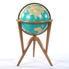 Attr: Edward Wormley, Rand McNally Indexed Terrestrial Vintage World Globe, Available Through Dunbar, Illuminated Edward Wormley, Vintage Globe, Map Globe, Pittsburgh Pa, Chicago Illinois, Cartography, Globes, Cleveland, Planets