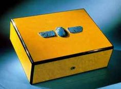 Objet d'Art Cigar Humidor with Ancient Egyptian Winged Scarab Inlay. #ezlooker