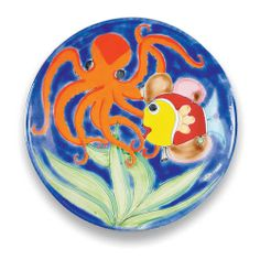 Parrucca Round Serving Platter - Fish Octopus Italian Pottery. Ceramics from Italy at the Italian Pottery Outlet in Santa Barbara.