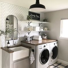 A dream laundry room makeover - We all dream of the perfect projects .- A dream laundry room makeover – We all dream of realizing the perfect home remodeling projects – no matter – - Laundry Room Remodel, Laundry In Bathroom, Laundry Decor, Small Laundry Rooms, Remodel Bathroom, Mudroom Laundry Room, Laundry Room Makeovers, Laundry Room Shelving, Master Bathrooms