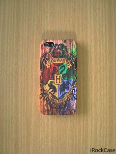 Colorful Hogwarts School Logo on Wood Print iPhone Case Harry Potter Phone Case Hogwarts Alumni Case iPhone 5S iPhone 5 iPhone 5C Samsung S4 on Etsy, $19.99