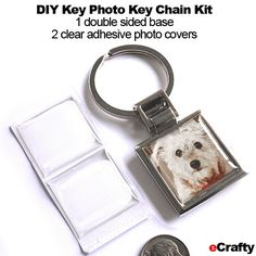 """DIY Photo Key Chain KIT Silver Base + 2 Domes 1"""" Square - Just peel and stick - great for quick gifts! 2-sided, beautiful quality, nearly instant little craft project! #ecrafty #keychains #gifts #weddingfavors #diycrafts #diygifts #photojewelry #photogifts"""