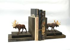 Moose Bookends Wood Wooden Book Ends Bookshelf Woodsy Rustic Ski Lodge Mountain Cabin Hunters Library Shelf Western Ranch Masculine Decor    The