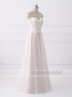 Lovely Spaghetti Straps Sweetheart A-line Cheap Wedding Dresses Online, Blush Pink Wedding Dress With Lace, VB0783 #weddingdresses  #weddingdress #weddings