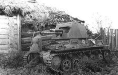 Wrecked near Smolensk German self-propelled artillery. Panzerjäger I. 1941.