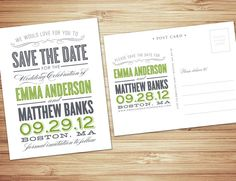 Old Fashioned ( non photo ) Save the date  announcement in slate & meadow