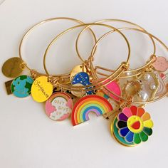Charm Bracelets For Girls, Unique Bracelets, Colorful Bracelets, Beaded Bracelets, Photo Charm Bracelet, Pandora Bangle, Photo Charms, Craft Storage, Handmade Accessories
