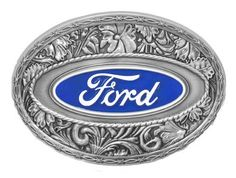 "- A slight western twist on this Oval Ford Logo Buckle. - Blue enamel background with white enamel trim and ""Ford"" in white enamel script. - Fully Licensed. - Measurements 3-3/4"" x 2-5/8"" - Fits up to"