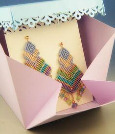 Kites, macramè earrings, with handmade gift box