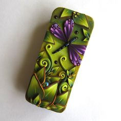 Purple Dragonfly Slide Top Tin, Sewing Needle Case , Polymer Clay Covered Tin, Magnetic Needle Case, Slide Tin Treasure Keeper