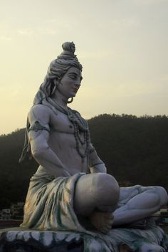 A statue of Shiva meditating at Parmarth Niketan on the Ganges River, Rishikesh