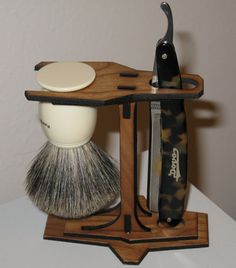 An important aspect of maintaining a straight razor is ensuring your razor (and shaving brush) dry thoroughly after each use. Keeping t. Straight Razor Shaving, Shaving Razor, Shaving Brush, Wet Shaving, Barber Shop Interior, Salon Interior Design, Shaving Stand, Barber Man, Razor Stand