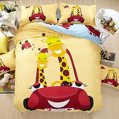 TheFit Paisley Bedding for Adult Yellow Giraffe Duvet Cover Set Cotton, Queen Set, 4 Pieces Single Duvet Cover, Duvet Cover Sets, Paisley Bedding, Yellow Bedding, Home Bedroom, Giraffe, Cotton, Dressing, Full Size Beds