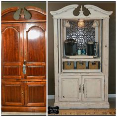 Repurposing an Old T. Armoire Repurposing an Old T. Armoire – Have an old T. Armoire that you aren't using anymore? Turn it into a coffee bar as a way to repurpose and not lose a good pi… Armoire Bar, Antique Armoire, Kitchen Armoire, Refurbished Furniture, Repurposed Furniture, Painted Furniture, Dresser Repurposed, Armoire Makeover, Furniture Makeover