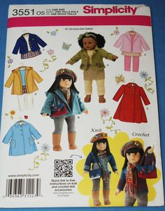 American Girl Doll Clothes-Simplicity Pattern 3551 Winter Wardrobe for 18 Inch Dolls New and Uncut American Girl Dress, American Doll Clothes, Ag Doll Clothes, Doll Clothes Patterns, Clothing Patterns, Doll Patterns, American Girls, Sewing Patterns, Sewing Ideas