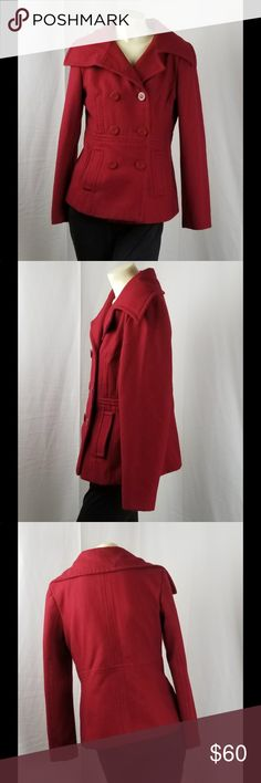 Nine West peacoat Red women's size 8 peacoat. Nine West peacoat in fantastic condition. Nine West Jackets & Coats Pea Coats