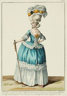 """A Most Beguiling Accomplishment: Galerie des Modes, 12e Cahier, 6e Figure (1778). Caption & long description translated by @Cassidy. """"Young lady in a taffeta caraco, coiffed in a demi-cap; this dress derives from Nantes, in Brittany, where the Bourgesoises of the town wore it to the passage of M. the Duke d'Aiguillon in 1768... It is said at the bottom of this Print that the caraco derives from Nantes in Brittany, where the bourgeoises wore it at the passage of M. the Duke d'Aiguillon…"""