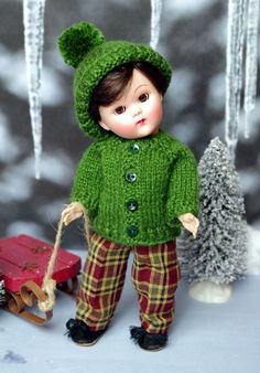 "*EVeRGReeN WiNTeR*..a HandKnit Sweater, Plaid Pants, & Hat with cute Pom Pom for Ginny or Muffie 7.5"" BoY DoLLs SPECIAL ORDER available for this off my website just click the pix to take you there for details.  Matching set for Ginny girls available on my website also on special order. www.karmelapples.com"