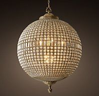 "Restoration Hardware's 19th C. Casbah Crystal Chandelier 36"":Replicating the sparkling lanterns of 19th-century Morocco, our arresting globe-shaped chandelier is strung with hundreds of multi-faceted crystals, each polished by hand to a brilliant shine."