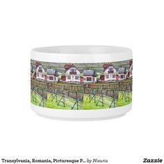 Transylvania, Romania, Picturesque Painted Scenery Bowl- Transylvania, Romania, Picturesque Painted Scenery - Transylvanian landscape painting: acrylic on canvas. The artwork is an original picturesque scenery from Romania in the city of Transylvania. You are welcome to contact if in need to apply the design for a product which is in Zazzle store, but not in my products list. Thank you for viewing my realm of Nisuris Art.