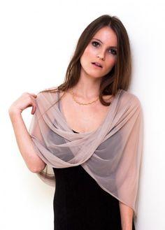 Beige sheer infinity shawl