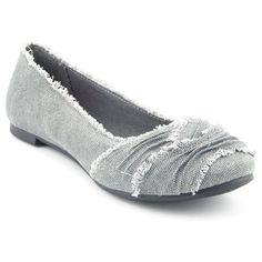 Dear Stitch Fix Stylist.  LOVE Gray, and LOVE the frayed look which makes it look like ruffles, LOVE THE SOLE matches or blends in with the shoe.  Don't LIKE WHITE OR BLACK soles on shoes.  If you look at a close up of this shoe, the material looks rough not soft.  Only want a SOFT comfortable look.  ~~~ Cute grey flats