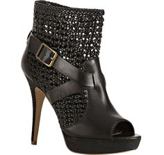 """SO great.  Steve by Steve Madden Black Knotted Leather """"Pokerr"""" Platform Booties"""